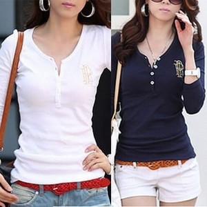 Spring Autumn Casual Long Sleeve V-Neck Embroidery Logo Pullover Cotton Plain Women s T-Shirts