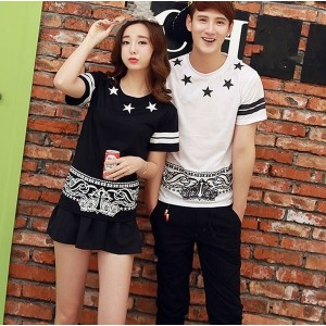 Men Women Fashionable Couple T-Shirt Tops Lovers Summer Alphanumeric Cotton Casual Clothes S-XXXL
