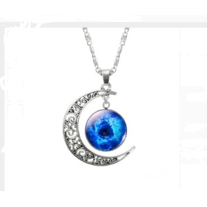 Choker Necklace Glass Galaxy Lovely Pendant Silver Chain Moon Necklace (Picture 4)