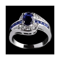 Rhinestone Blue Sapphire White Gold Filled Women's Rings(Size-JP-16)