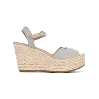 Chie Mihara - wedge sandals - women - ラフィア/レザー/rubber - 37.5