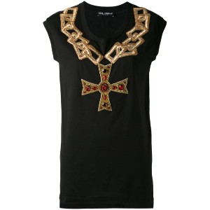 Dolce & Gabbana - embroidered chain top - women - シルク/コットン/ポリアミド/glass - 40