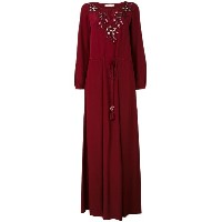 Tory Burch - embroidered flower maxi dress - women - シルク - IV