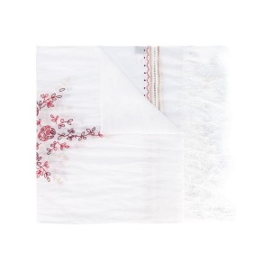 Forte Forte - open embroidery fringed scarf - women - ラミー - ワンサイズ