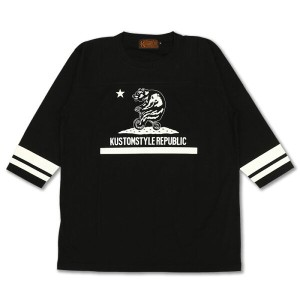 "KUSTOMSTYLE KST1303FOOT7BK ""CALI BEAR"" FOOTBALL 3/4SLEVE TEE BLACK"
