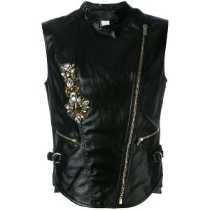 Stefano De Lellis - sleeveless jacket - women - レザー - 44