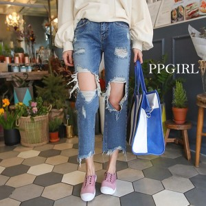 送料 0円★PPGIRL_9483 Goblin jeans / destroyed jeans / vintage washing / baggy fit pants