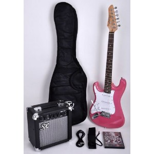 SX RST 3/4 LH BGMY レフトハンドモデル レフティ 左利き Short Scale Pink Guitar Package with Amp, Carry Bag and...