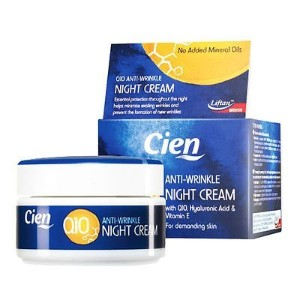 Cien Anti-Wrinkle Night CREAM - 50 ml - with q10, Hyaluronic Acid & Vitamin E