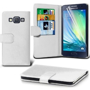 Samsung Galaxy A7 Leather Wallet Case Cover (White) Plus Free Gift, Screen Protector and a Stylus...