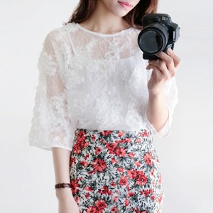 tomtomtom★lace blouse / flower lace / see-through blouse
