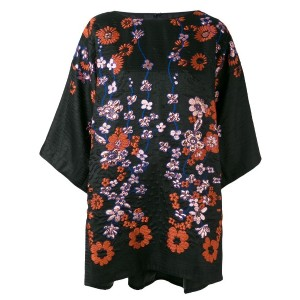 Talbot Runhof - floral embroidered tunic - women - シルク/ポリアミド/アセテート/キュプロ金属化ポリエステル - 36