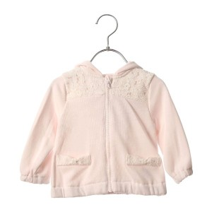 【SALE 25%OFF】コムサイズム COMME CA ISM レース使いのリボン付長袖パーカー (ピンク)