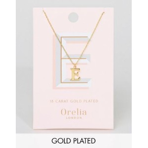 Orelia Gold Plated Large E Initial Necklace