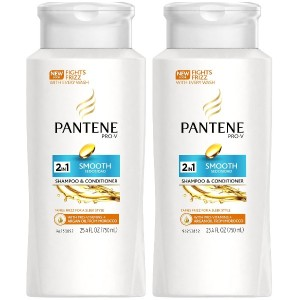 Pantene pro v 2 in 1 medium thick frizzy to smooth hair solutions shampoo and conditioner - 25.4 oz...