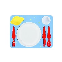 Space Melamine Kids Dinner 7-piece Set, Plate, Cup, Utensils, Bowl on a Tray by doiy
