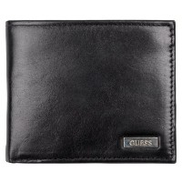 (GUESS) Guess Mens Genuine Leather Passcase Billfold Wallet (Color:Black)