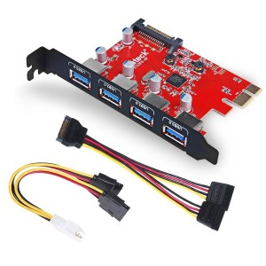Inateck Superspeed 4 Ports PCI-E to USB 3.0 Expansion Card - Interface USB 3.0 4-Port Express Card...