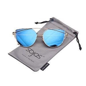 ◆Direct from USA◆ SojoS Cat Eye Mirrored Flat Lenses Street Fashion Metal Frame Women Sunglasses SJ1