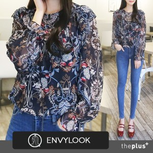 ★ Envylook ★ SuperSale★ Front Frill Ciffon Blouse / Flower Pattern / High Quality / Korean Fashion