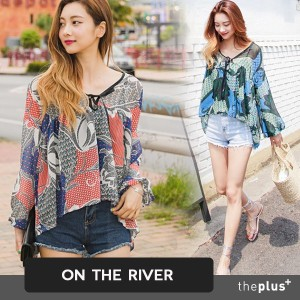 ★ ontheriver ★Super Sale★ Chiffon Blouse / Cool Material / ribbon detail / Korean Fashion Trends /