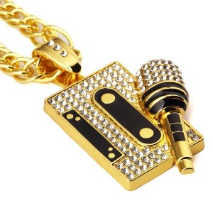 MCSAYS ヒップホップ ファッション hiphop ネックレス マイクロホン アクセサリー Mens 18 K Gold Plated Bling Jewelry Necklace Tape...