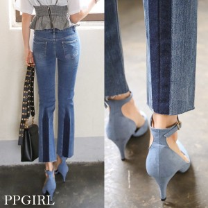 送料 0円★PPGIRL_9407 Pleats washing jeans/denim pants/ankle length pants/cutting jeans/ユニーク/ストレート