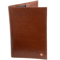 (Alpine Swiss) Alpine Swiss RFID Blocking Leather Passport Cover Safe ID Protection Travel Case
