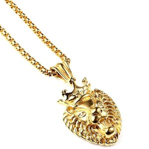 MCSAYS hiphop ネックレス マイクロホン アクセサリー ライオン アクセサリー Men 18k Gold Tone Stainless Steel Plain Lion Pendant...