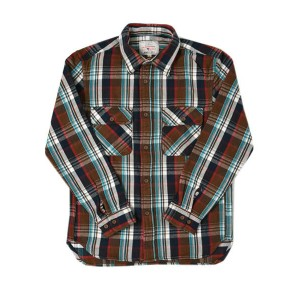 AVIREX DAILY L/S COTTON FLANNEL CHECK SHIRT【6165132-055-BROWN】