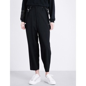 ys ys レディース ボトムス トラウザーズ【suspender-detail cropped wool trousers】Black