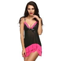 Avidlove Women Mesh Lace Patchwork Bow Mini Lingerie withG-String Babydoll Underwear (Black)