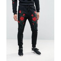 【送料無料】Liquor & Poker Embroidered Roses Jogger