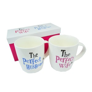 The Bright Side Wedding Gift Mug Set - The Perfect Wife/ The Perfect Husband (New Range) by Bright...