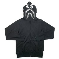 A BATHING APE ア ベイシング エイプ ×BOUNTY HUNTER 17SS MAD SHARK OVER SIZED FULL ZIP HOODIE シャークパーカー 黒 M