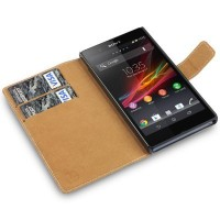 Covert PU Leather Wallet Case for Sony Xperia Z, Black - 並行輸入品
