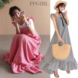 送料 0円★PPGIRL_9913 Heidi long dress / frill long dress / maxi dress / casual / layered dress / check