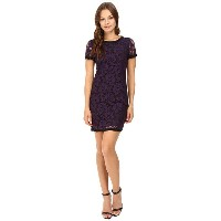 Donna Morgan Short Sleeve Easy Shift Lace Dress with Combo