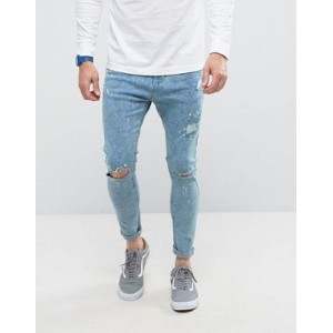 Bershka Super Skinny スキニー Jeans パンツ With Knee Rips In Bleached Blue