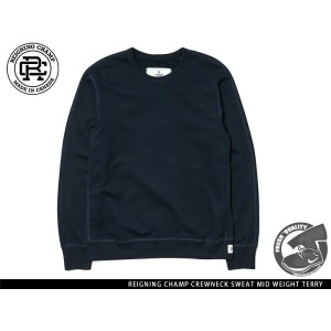 """""""Handcrafted in Canada"""" REIGNING CHAMP CREWNECK SWEAT MID WEIGHT TERRY NAVY レイニング チャンプ クルーネック ネイビー"""