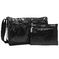 レスポートサック バッグ LESPORTSAC 7519 M098 DELUXE SHOULDER SATCHEL ショルダーバッグ BLACK CRINKLE PATENT 532P19Apr16