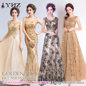Gold Evening Gown Mother of Bride Yellow Maxi Formal Dress Lace Mermaid Prom Cocktail Party Dresses