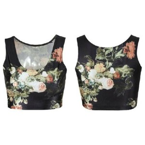 Women s Fashion Clubwear Reversible High Quality Vintage Floral Digital Print Punk T-Shirt Tank Top...