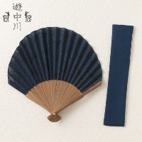 遊 中川扇子ホタテ形asanoha紺Scallop shaped fan