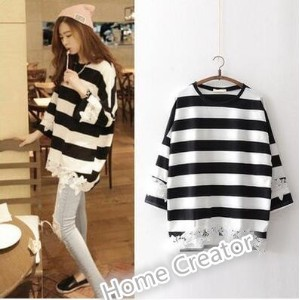 Maternity dress striped long-sleeved shirt big lace lace sweater fashion wear T-shirt