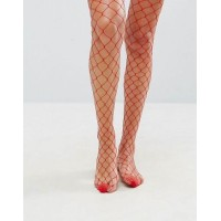 ASOS エイソス Oversized Fishnet Tights In Red