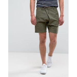 ASOS エイソス Drop Crotch Asymmetric Shorts ショーツ With Leather Tie In Khaki