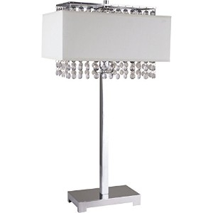 【Ore International 733WH Square Crystal Table Lamp 28-Inch Height White by ORE】 b00n55izbi
