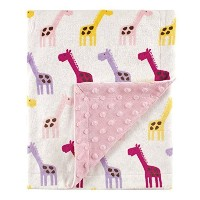 Hudson Baby Printed Mink Blanket with Dotted Backing, Pink Giraffe by Hudson Baby [並行輸入品]