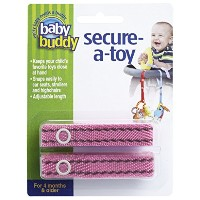 Baby Buddy ベビー バディ Secure-A-Toy 2ct おもちゃストラップ ステッチ 1柄各2本組 【アメリカ製】 Pink×Brown ピンク×ブラウン